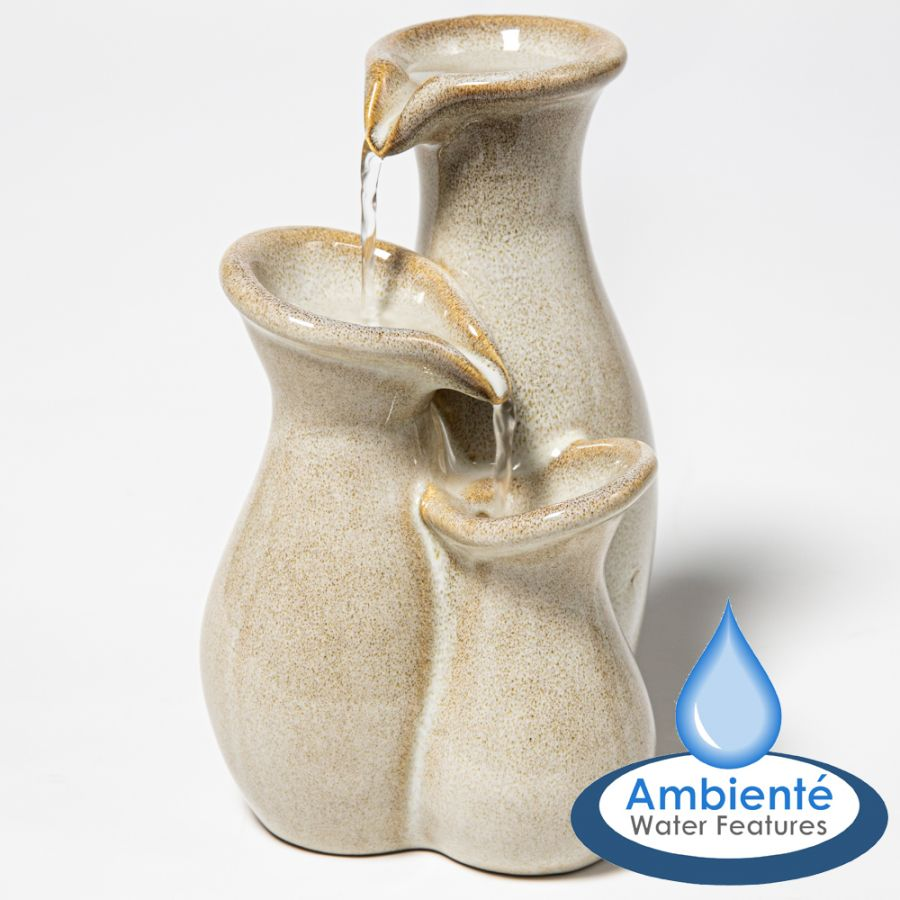 H21.5cm Baeza Cascading Jar Ceramic Tabletop Water Feature | Indoor/Outdoor Use by Ambienté