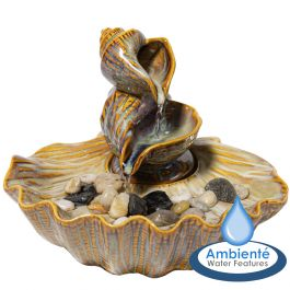 H25cm Osuna Cascading Shell Ceramic Tabletop Water Feature | Indoor/Outdoor Use by Ambienté