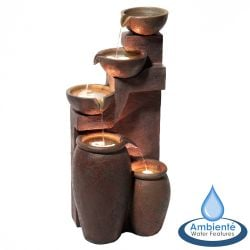 H101cm Quito 4-Tier Cascading Bowls & Jars Water Feature with Lights - by Ambienté