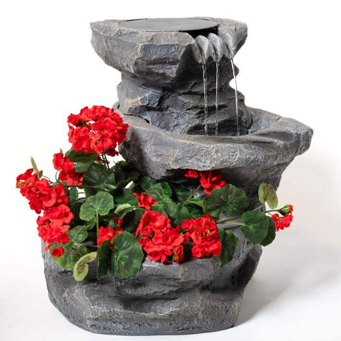 H48cm Dornie Solar Powered Pouring Water Feature with Planter - By Solaray