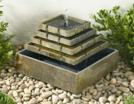 Slate Pyramid Corner Solar Fountain Water Feature