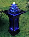 Black Column Water Feature With Blue LED Lights