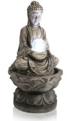 H66cm Medium Buddha (Crystal Ball) Water Feature with Light by Ambienté™