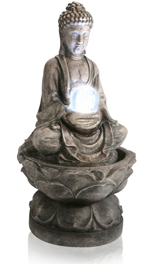 H66cm Buddha & Crystal Ball Water Feature with LED Lights | Indoor/Outdoor Use by Ambienté