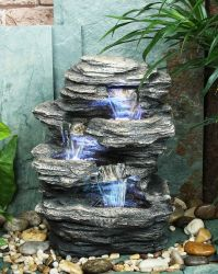 Small 3 Fall Rock Water Feature With Lights