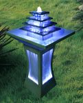 Grey Column Water Feature With White LED Lights
