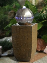 Stainless Sphere On Wood Effect Planter With Lights