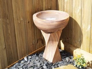 63cm Indian Rainbow Sandstone Bird Bath Water Feature with Kit