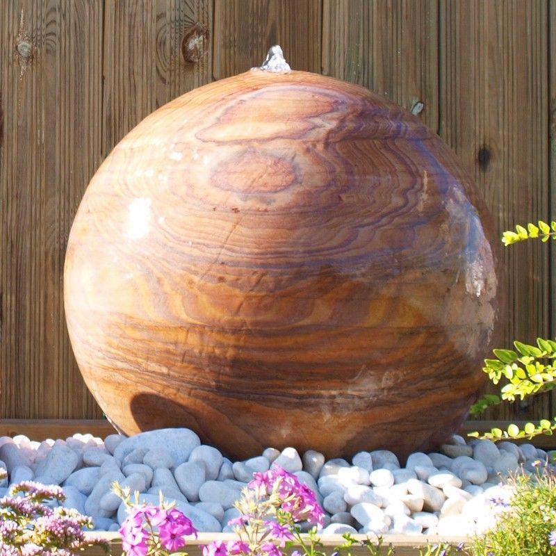 30cm Indian Rainbow Sandstone Drilled Sphere Water Feature with Kit