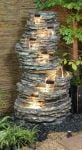 8 Tier Rock Cascade Water Feature with Lights - H147cm