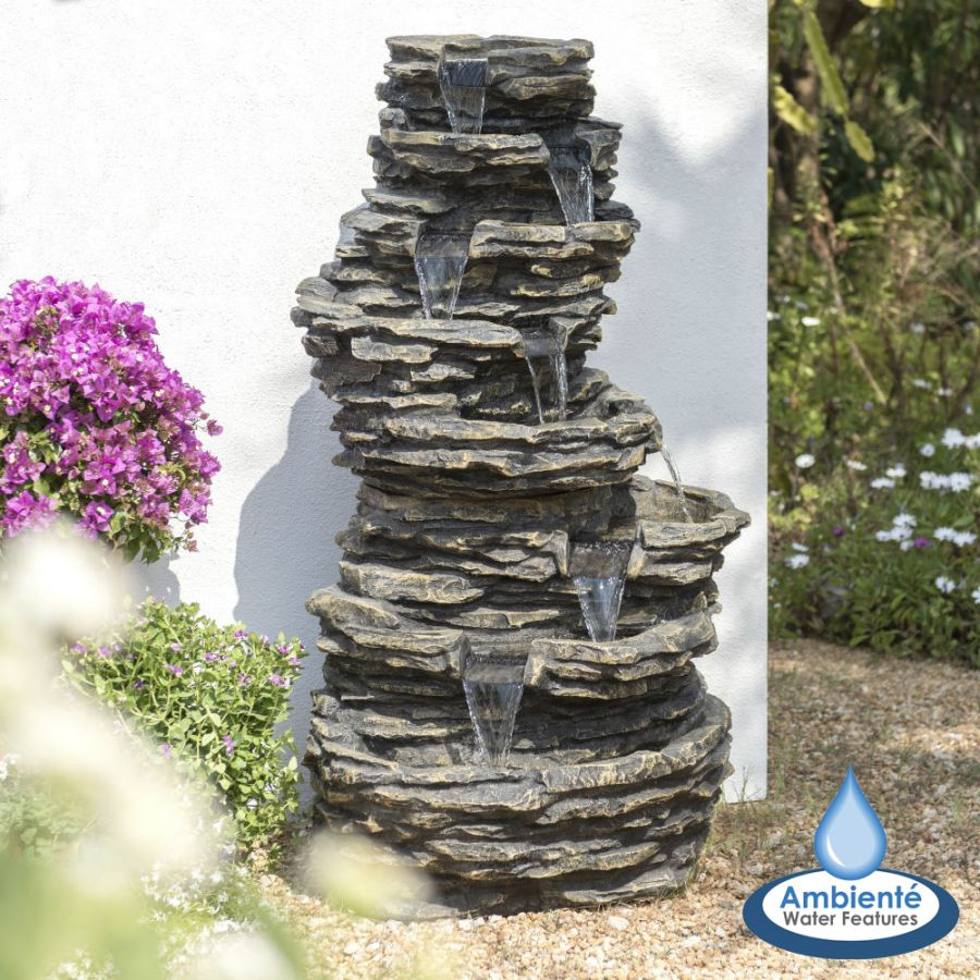 H147cm 8-Tier Rock Cascade Water Feature with Lights | Indoor/Outdoor Use by Ambienté