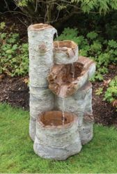 Silver Birch Water Feature With Lights - Large