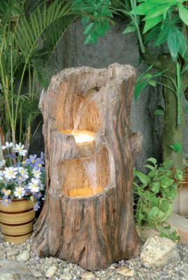 Tree stump cascade water feature with lights for Tall tree stump ideas