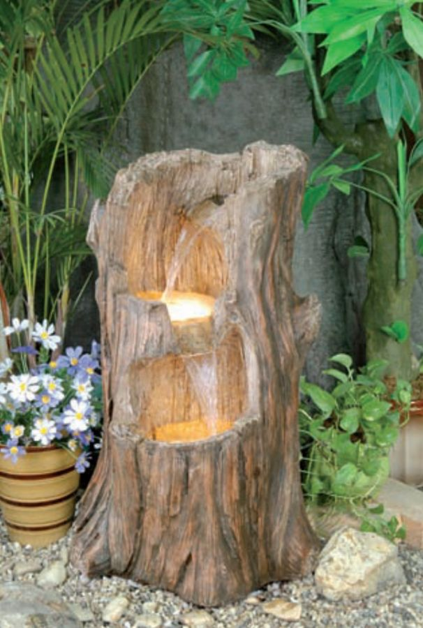 Tree Stump Cascade Water Feature With Lights 163 169 99