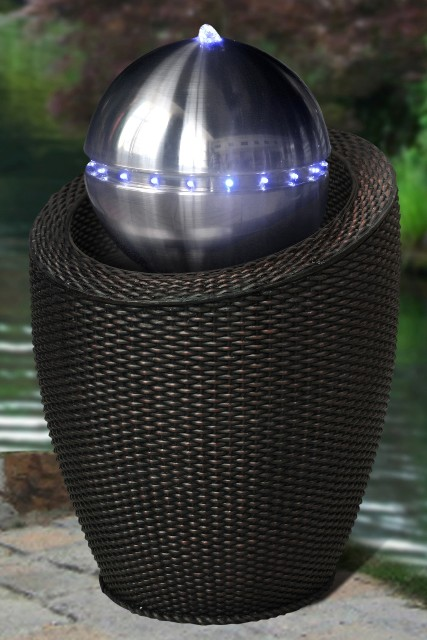 Atlanta Black Wicker Silver Sphere Water Feature With