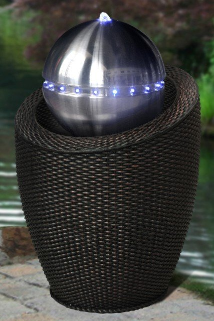Atlanta Black Wicker Silver Sphere Water Feature with Lights
