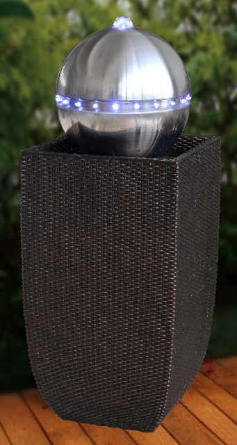 berlin black wicker silver sphere water feature with lights. Black Bedroom Furniture Sets. Home Design Ideas
