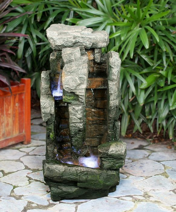 Two Fall Rock With Brick Water Feature With Lights