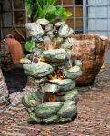 Large Multifall Green Rock Water Feature With Lights