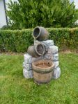 Medium 2 Pots & Wooden Barrel Water Feature With Lights