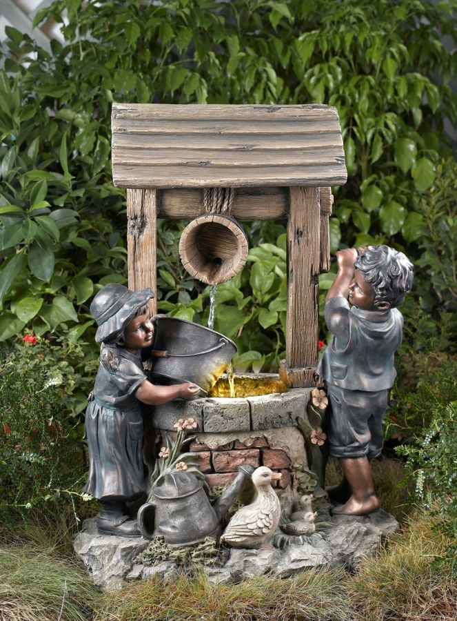 Two Children At Wishing Well Water Feature With Lights 163 216 99