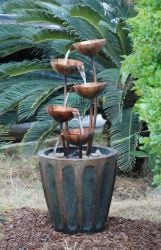 Five Copper Bowls In Planter Water Feature