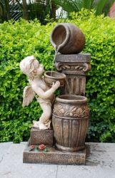 Angel With Spilling Urns Water Feature With Lights