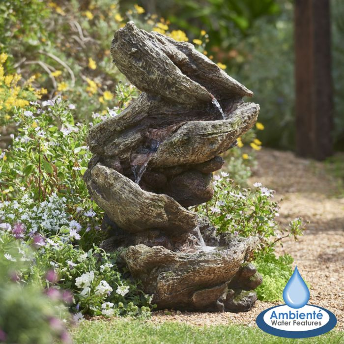 H103cm Rocky River Cascading Water Feature with Lights | Indoor/Outdoor Use by Ambienté