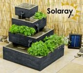 Dalton Square 4-Tier Solar Water Feature Cascading Herb Planter Burntwood - H42cm x W39cm by Solaray�