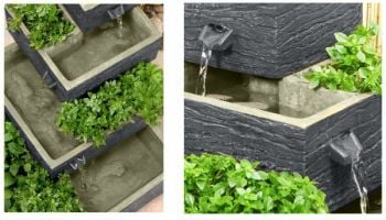 Dalton Square 4-Tier Solar Water Feature Cascading Herb Planter Burntwood - H42cm x W39cm by Solaray™