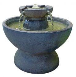 Henri Studios Copa Tiered Stone Water Feature with LED Light H63cm
