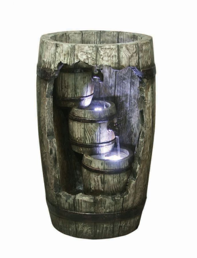 Cascading Barrels Resin Stone Water Feature with LED Lights H78.5cm