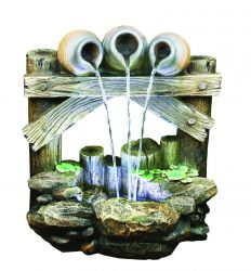Trickling Trio Resin Stone Water Feature with LED Lights H63cm