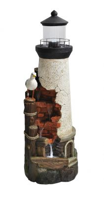 Rustic Lighthouse Resin Stone Water Feature with LED Lights H92cm
