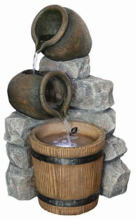 Village Stone Trickle Resin Stone Water Feature with LED Lights H51cm