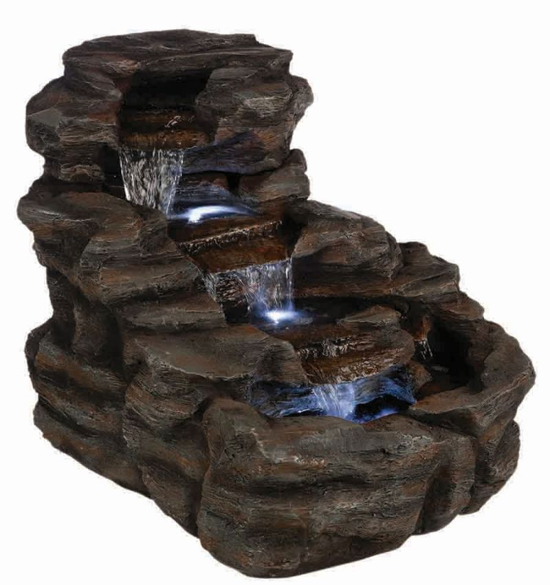 Rock Cascade Resin Stone Water Feature with LED Lights H54.5cm