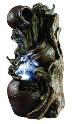 Willow Pots Resin Stone Water Feature with LED Lights H80cm