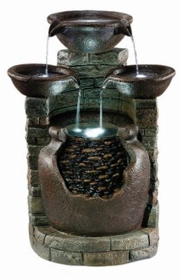 Antique Spills Resin Stone Water Feature with LED Lights H71cm