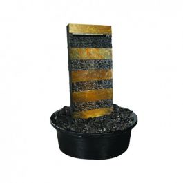 H85cm Striped Shizuka Schist Stone Water Feature with Lights