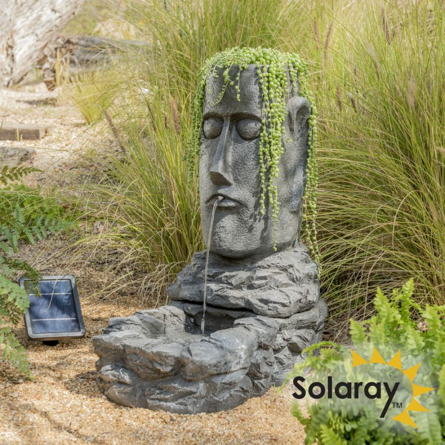 H73cm Easter Island Solar Head Water Feature & Planter with Lights by Solaray