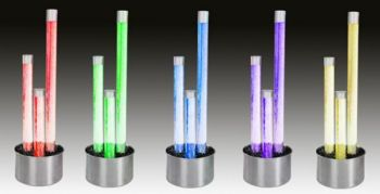 "4ft 5"" / 136cm Three Tier Bubble Tubes Water Feature with Colour Changing LED Lights - Indoor and Outdoor Use"