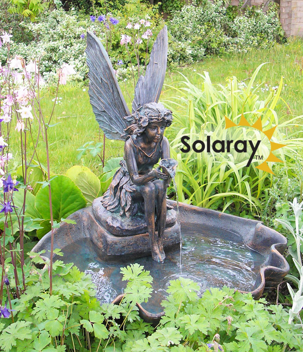 78cm Solar Powered Fairy on a Clam Shell Water Feature with LED Lights by Solaray™