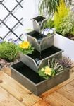 Wheaton Planter Cascading Water Feature - Silver