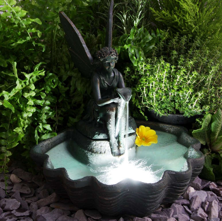30cm Fairy on Clam Shell Programmable Solar Water Feature with Lights by Solaray�