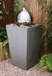 Tapered Stone Effect Column Water Feature With Stainless Steel Sphere & LED Lights by Ambienté™