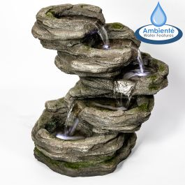 H56cm Sanke Steps 5-Tier Cascading Water Feature with Lights by Ambienté