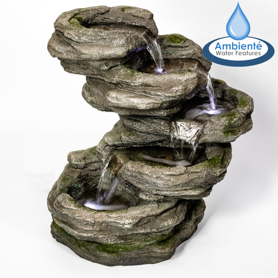 H56cm Sanke Steps 5 Tier Cascading Water Feature with LED Lights by Ambienté™