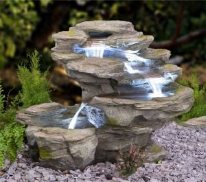 H65cm Ogen River Leap 4-Tier Cascading Water Feature with Lights | Indoor/Outdoor Use by Ambienté