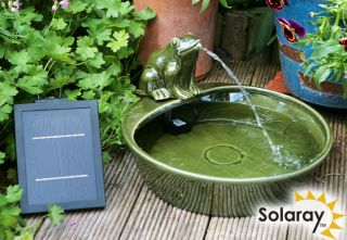 35cm Frog Solar Ceramic Water Feature by Solaray