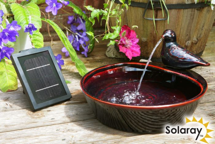 35cm Dove Solar Ceramic Water Feature by Solaray